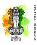 lion capital of ashoka in... | Shutterstock .eps vector #445117666