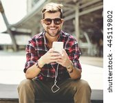 man sitting listening music... | Shutterstock . vector #445119802