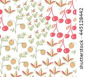 seamless pattern with berries.... | Shutterstock .eps vector #445128442