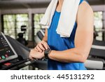 mid section of man using smart... | Shutterstock . vector #445131292