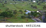 community golf course, aerial view - stock photo
