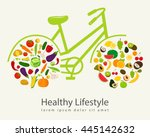 healthy lifestyle concept in... | Shutterstock .eps vector #445142632