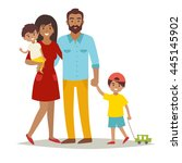 happy family with kids. cartoon ... | Shutterstock .eps vector #445145902