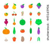 farm fruits and vegetables flat ... | Shutterstock .eps vector #445165906