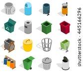 trash bin icons set. isometric... | Shutterstock .eps vector #445166296