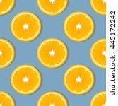 orange slice fruit seamless... | Shutterstock .eps vector #445172242