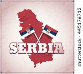 serbia theme retro vector... | Shutterstock .eps vector #445176712