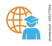 world graduating cap student... | Shutterstock .eps vector #445177816