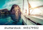 young lady standing on the bow... | Shutterstock . vector #445179502