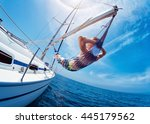 man relaxing in the hammock set ... | Shutterstock . vector #445179562