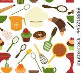 bakery pattern vector | Shutterstock .eps vector #445218886