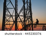 silhouette  high voltage tower  ... | Shutterstock . vector #445230376