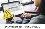 unsecured virus detected hack...   Shutterstock . vector #445249072
