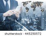 double exposure of businessman... | Shutterstock . vector #445250572