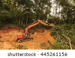 deforestation  borneo tropical... | Shutterstock . vector #445261156
