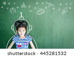school girl kid's imagination... | Shutterstock . vector #445281532