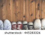 family of sneakers  woodgrain   Shutterstock . vector #445283326