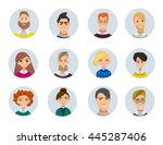 set of diverse round avatars... | Shutterstock .eps vector #445287406