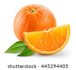 orange fruit with slice and... | Shutterstock . vector #445294405