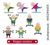happy retired people. healthy... | Shutterstock .eps vector #445295455