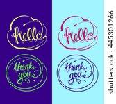 hand drawn  lettering. hello ... | Shutterstock . vector #445301266