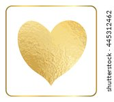 gold heart hand draw. golden... | Shutterstock . vector #445312462