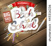 back to school sale background. ... | Shutterstock .eps vector #445316236