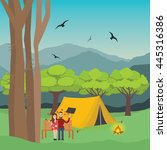 couple camping in forest man... | Shutterstock .eps vector #445316386