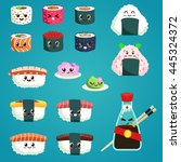 fun sushi and sashimi. japanese ... | Shutterstock .eps vector #445324372