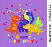 happy birthday   lovely vector... | Shutterstock .eps vector #445335526
