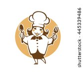 happy cartoon chef  vector... | Shutterstock .eps vector #445339486