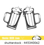 two mugs of beer. vector... | Shutterstock .eps vector #445340062