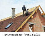 building contractors putting... | Shutterstock . vector #445351138