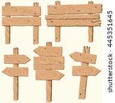 set of blank wooden planks ... | Shutterstock .eps vector #445351645