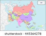 political map of asia with names | Shutterstock .eps vector #445364278