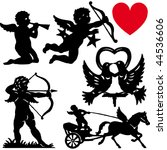 set of silhouette cupid vector...   Shutterstock .eps vector #44536606