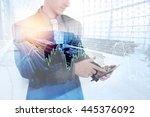 double exposure of businessman... | Shutterstock . vector #445376092