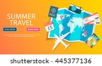 trip to world. travel to world. ... | Shutterstock .eps vector #445377136