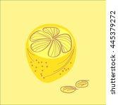 lemons vector hand drawn ... | Shutterstock .eps vector #445379272