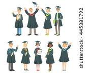 graduating students in black... | Shutterstock .eps vector #445381792