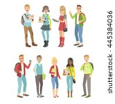 college students characters set | Shutterstock .eps vector #445384036