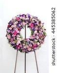colorful flower arrangement... | Shutterstock . vector #445385062