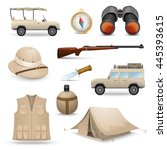 safari icons for savanna ... | Shutterstock .eps vector #445393615