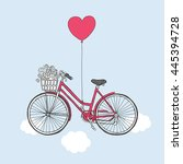 card for valentine's day. retro ... | Shutterstock .eps vector #445394728