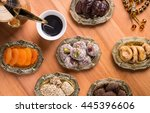 arabian coffee with dried... | Shutterstock . vector #445396606