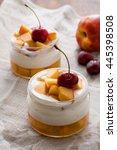 summer dessert of peaches and... | Shutterstock . vector #445398508
