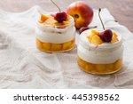 summer dessert of peaches and... | Shutterstock . vector #445398562