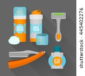 after shave flat icon set.... | Shutterstock .eps vector #445402276