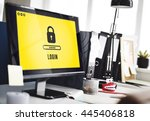 lock icon password protected... | Shutterstock . vector #445406818