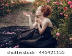 beautiful young woman with long ... | Shutterstock . vector #445421155
